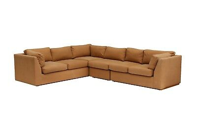 Milo Baughman Style Square Sectional Sofa 3 PC Khaki Cotton w Oak Floating Base