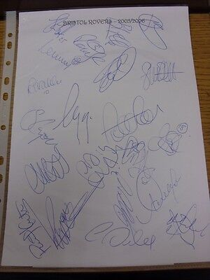 2005/2006 Bristol Rovers: Autographs - Hand Signed By 21 Players/Officials On Cl