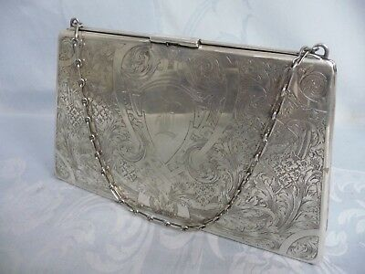 Antique Sterling Silver Etched Purse/Handbag, Leather/Satin Interior, Rare Size