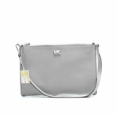 e8d351ed42c4 Michael Kors NEW Pearl Gray Medium Convertible Leather Pouchette $128- #067