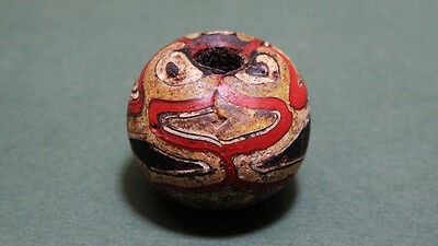 Ancient Mosaic Bead Multi Colored Face Designs Rare Roman 200-400 Ad