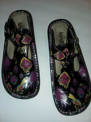 0177de738187 Alegria Mary Jane Shoes Size 7 Floral Hearts Patent Leather Shoe Clogs  Colorful
