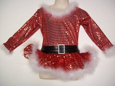 Christmas Ice Skating Costumes.Ice Skating Dress Sparkly Ms Santa Claus Figure Skate Christmas Costume Child S