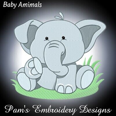 BABY ANIMALS 10 MACHINE EMBROIDERY DESIGNS CD or USB