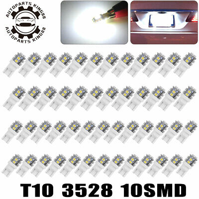 50x White T10 10-SMD LED Dome Map License Interior Light Bulbs 168 192 194 2825
