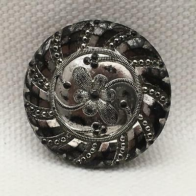 Gorgeous Antique Carved Jet or Cut Glass, Silver Flashed VICTORIAN Pin Sparkles
