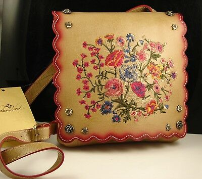 Patricia Nash Prairie Rose Embroidery Sand Leather Granada Crossbody Bag NWT
