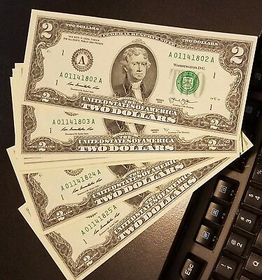 Rare Crisp 2013 Uncirculated $2 Bill Two Dollar A Note Sequential Order (0917A)