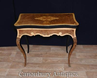 Antique Card Table - Amboyna Satinwood and Walnut French  Circa 1880 Empire