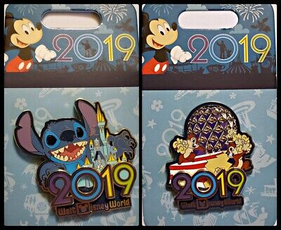 Disney Parks 2 Pin Lot 2019 WDW Stitch w/castle + Chip & Dale in Epcot