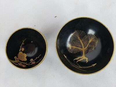 Pair of antique japanese small black lacquerware bowls