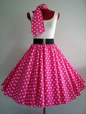 "LADIES ROCK N ROLL/ROCKABILLY ""Spots"" SKIRT & SCARF M-L Pink/White Spots"