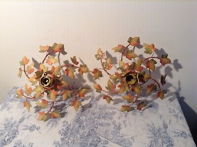 Pair of French/Italian Style Tole Ceiling Lights - Toleware Autumn Leaves (1628)