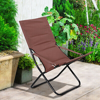 Outsunny Folding Beach Chair Portable Ergonomic Padded Chair w/Armrest Brown