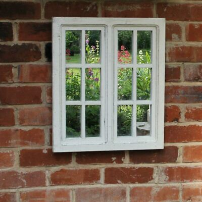 Rustic white window pane style mirror shabby chic wall mounted home garden gift
