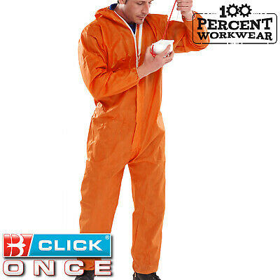Click Once Orange Disposable Coverall Overall Boiler Suit Type 5 6 Protection