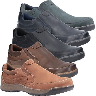 Mens Hush Puppies Jasper Casual Slip On Smart Leather Shoes Sizes 6 to 12