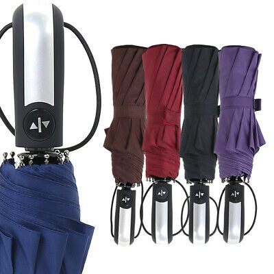 UK 10Ribs Umbrellas Three Folding Strong Large Frame Windproof Fully-Automatic