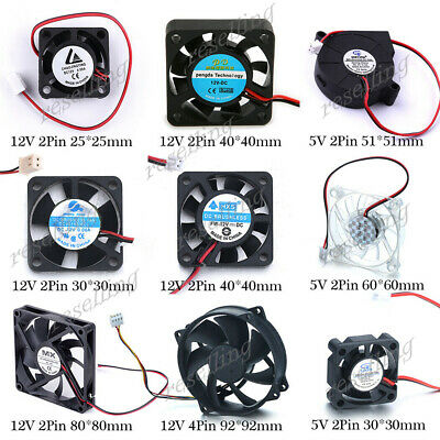 Cooling Fan Cooler Heatsink PC Computer Case 25/30/40/51/60/80/92mm 2/4Pin 5/12V