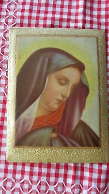 Vintage  Religious Holy Tin Picture Mary  just beautiful