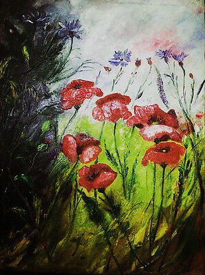Poppies and cornflowers in the meadow -  W.Kowal - oil painting