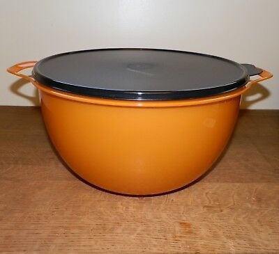 Tupperware THATSA Mega BOWL 42 Cup Orange BLACK Sparkle NIP
