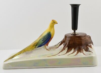 Rare Art Deco Lustre Carlton Ware Pheasant Pen Holder and Tray