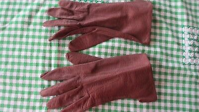 Vintage leather Lamb Skin Brown Gloves