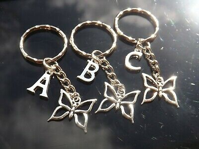 Personalised Initial Keyring with Butterfly & Silver Plated Letter