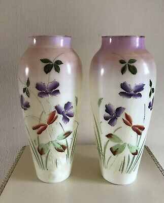 Pair Of Antique Glass Vases Painted Flowers