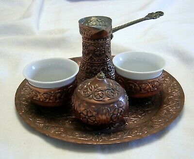 Vintage TURKISH MIDDLE EASTERN ARABIC ISLAMIC ETCHED TINNED COPPER TEA SET