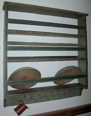 Best Antique Bowl Rack Dated 1887! Best Form Outstanding Old Paint Aafa Nr
