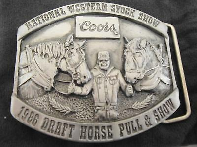 Vintage Coors National Western Stock Show 1986 Draft Horse Pull Show Belt Buckle
