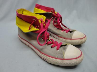 Womens Girls Converse Chuck Taylor All Star High Top Shoes Gray/Pink/Yellow Sz 5