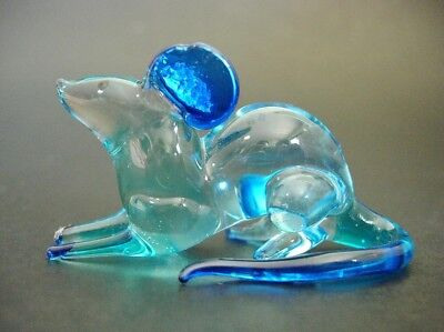 Curio Glass MOUSE RAT Glass Ornament Turquoise & Blue Painted Glassware Animal