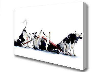 Seesaw Cows Animal Canvas Print Wall Art A1 Size 00806