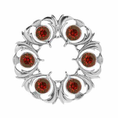 Art Pewter Thistle Dancers Plaid Brooch with Red Stone 250 (RED)