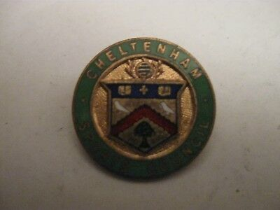 Rare Old Cheltenham Sports Council Enamel Brooch Pin Badge By Miller