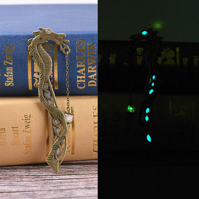 Retro Glow In The Dark Leaf Feaher Book Mark With Dragon Luminous Bookmark@H fg