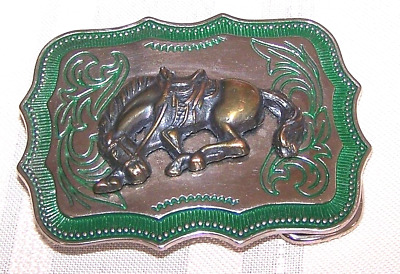 VINTAGE BRASS HORSE EMBLEM BELT BUCKLE 1960s 70,S Retro
