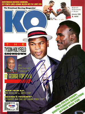 Evander Holyfield & Mike Tyson Autographed Magazine Cover To John PSA #S00459