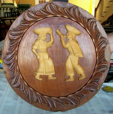 Carved Wood South American Native Figurine Pair Vintage Large  Wall Hanger
