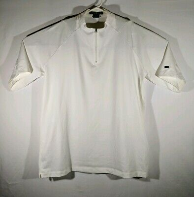 c541694f8 Tiger Woods Golf Polo Men s Large White Nike Dri Fit Zonal Cooling 1 4 Zip