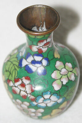Chinese 1920s Cloisonné Flower Design Green Ground Baluster Form Miniature Vase