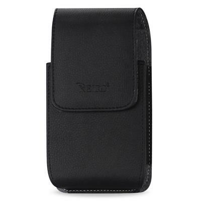 Black Leather Case Vertical fits Consumer Cellular Doro 7050