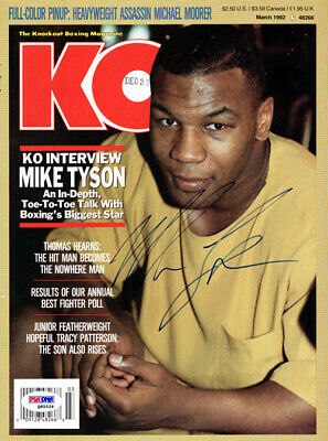 Mike Tyson Autographed Signed KO Boxing Magazine Cover Vintage PSA/DNA #Q65524