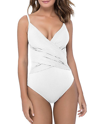 f6d04ff20b Gottex Profile White Ribbons Crossover V-neck One Piece Swimsuit 14 NWT  $108 New