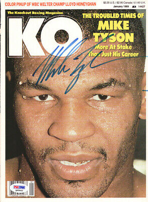 Mike Tyson Autographed Signed KO Boxing Magazine Cover Vintage PSA/DNA #Q65645