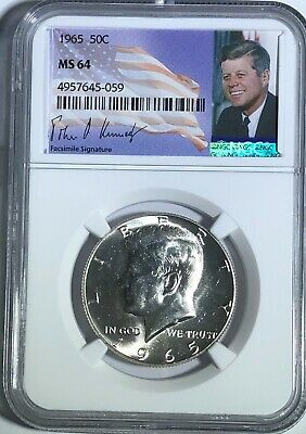 1965 Ngc Ms64 Silver Kennedy Half Dollar Jfk Coin Signature Label 50C