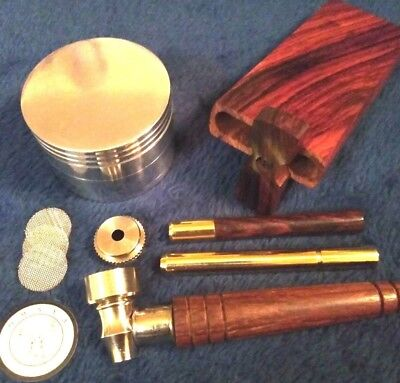 Deluxe Smoking Bundle, Rosewood Dugout, Brass/Rosewood One Hitters w/ Grinder
